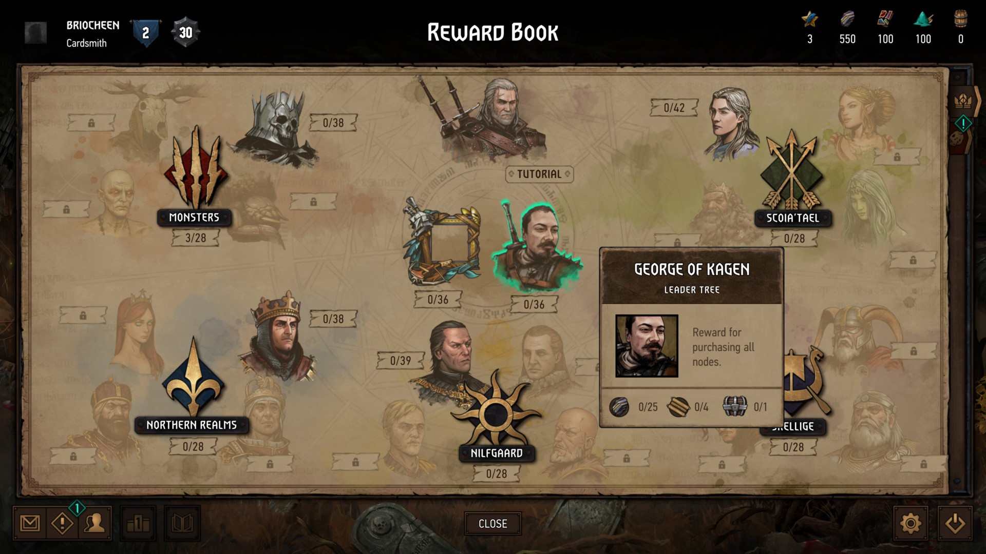 Reward book screenshot of Gwent: The Witcher Card Game video game interface.