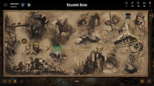 Reward complete screenshot of Gwent: The Witcher Card Game video game interface.