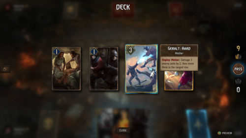 Select card screenshot of Gwent: The Witcher Card Game video game interface.