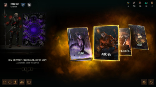 Select mode screenshot of Gwent: The Witcher Card Game video game interface.