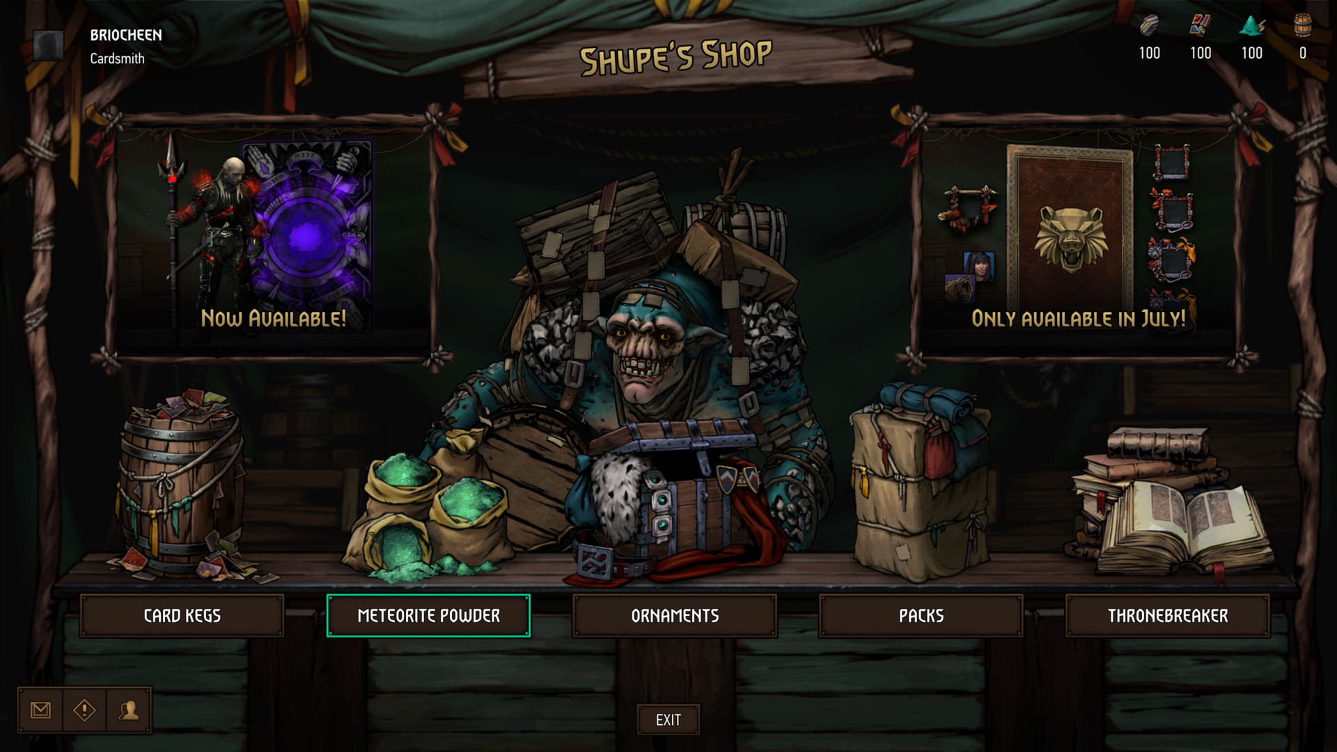 Shop screenshot of Gwent: The Witcher Card Game video game interface.