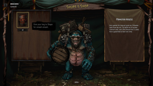 Shupe's shop screenshot of Gwent: The Witcher Card Game video game interface.