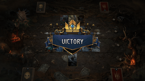 Victory screenshot of Gwent: The Witcher Card Game video game interface.