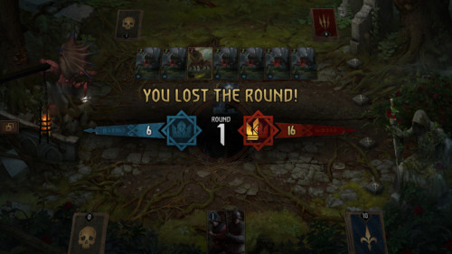 You lost the round screenshot of Gwent: The Witcher Card Game video game interface.