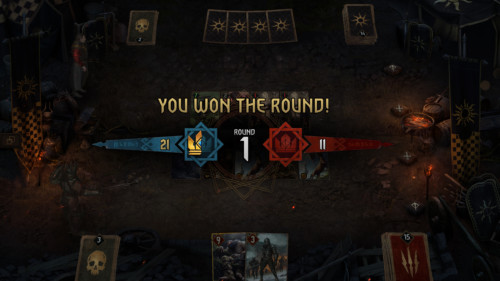 You won the round screenshot of Gwent: The Witcher Card Game video game interface.