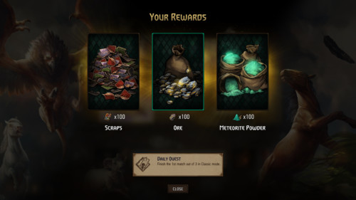 Your rewards screenshot of Gwent: The Witcher Card Game video game interface.