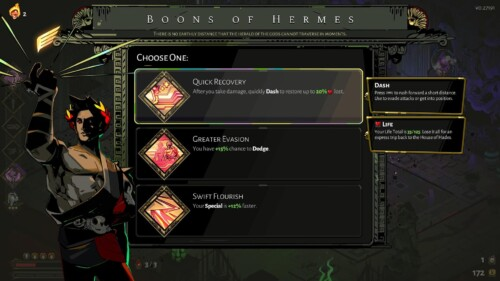 Boons of Hermes screenshot of Hades video game interface.