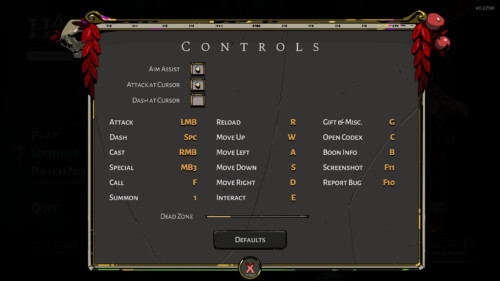 Controls screenshot of Hades video game interface.