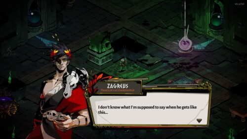Dialogue screenshot of Hades video game interface.