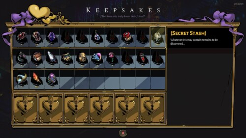 Keepsakes screenshot of Hades video game interface.