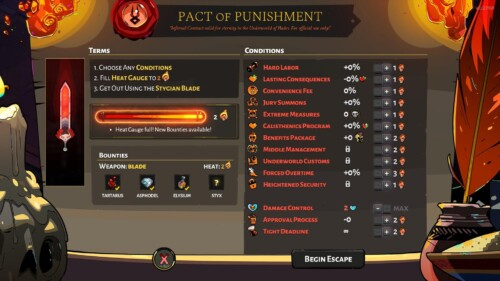 Pact of punishment screenshot of Hades video game interface.