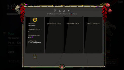 Play screenshot of Hades video game interface.