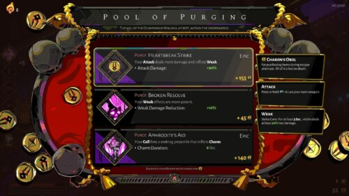 Pool of Purging screenshot of Hades video game interface.