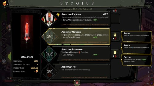 Stygius screenshot of Hades video game interface.