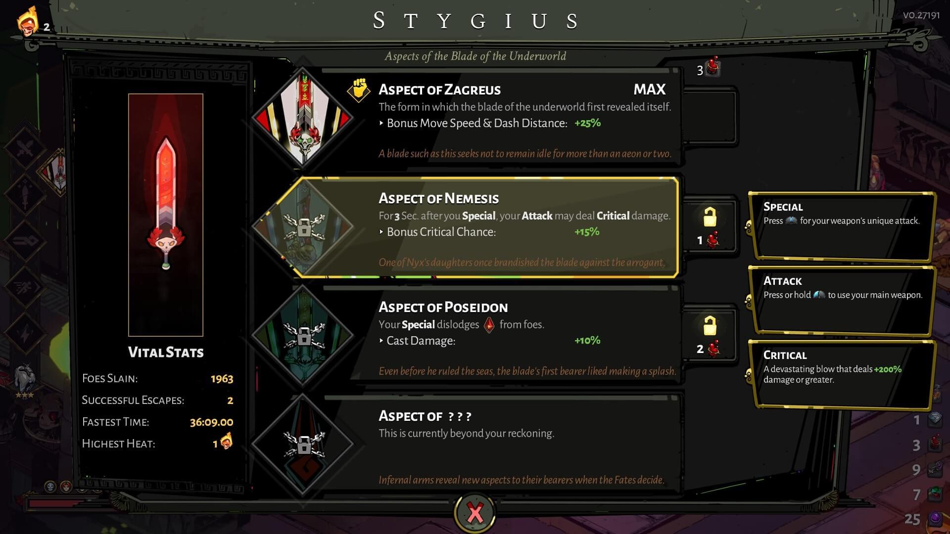 Stygius screenshot of Hades video game interface.