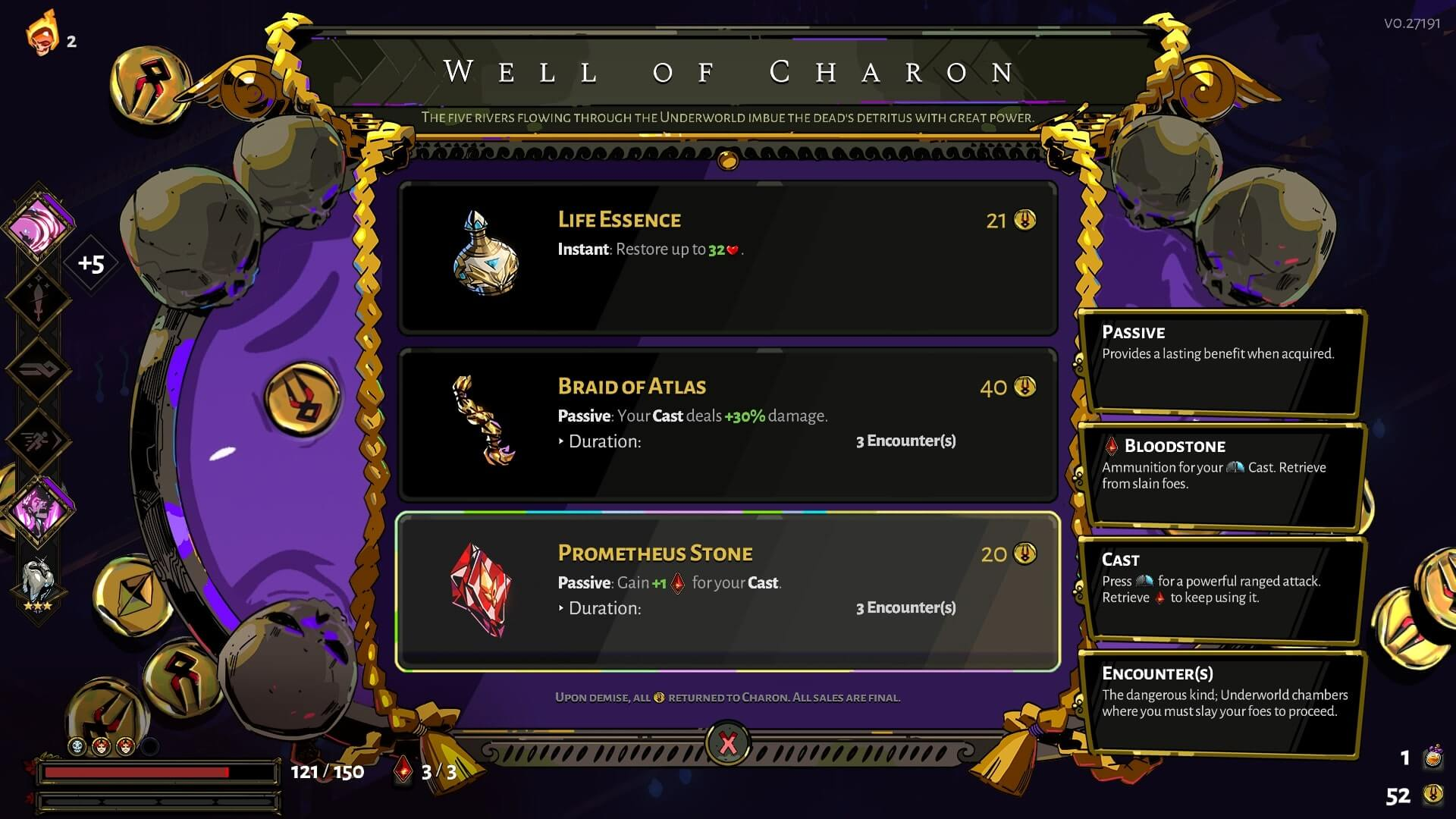 Well of Charon screenshot of Hades video game interface.