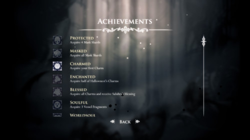 Achievements screenshot of Hollow Knight video game interface.