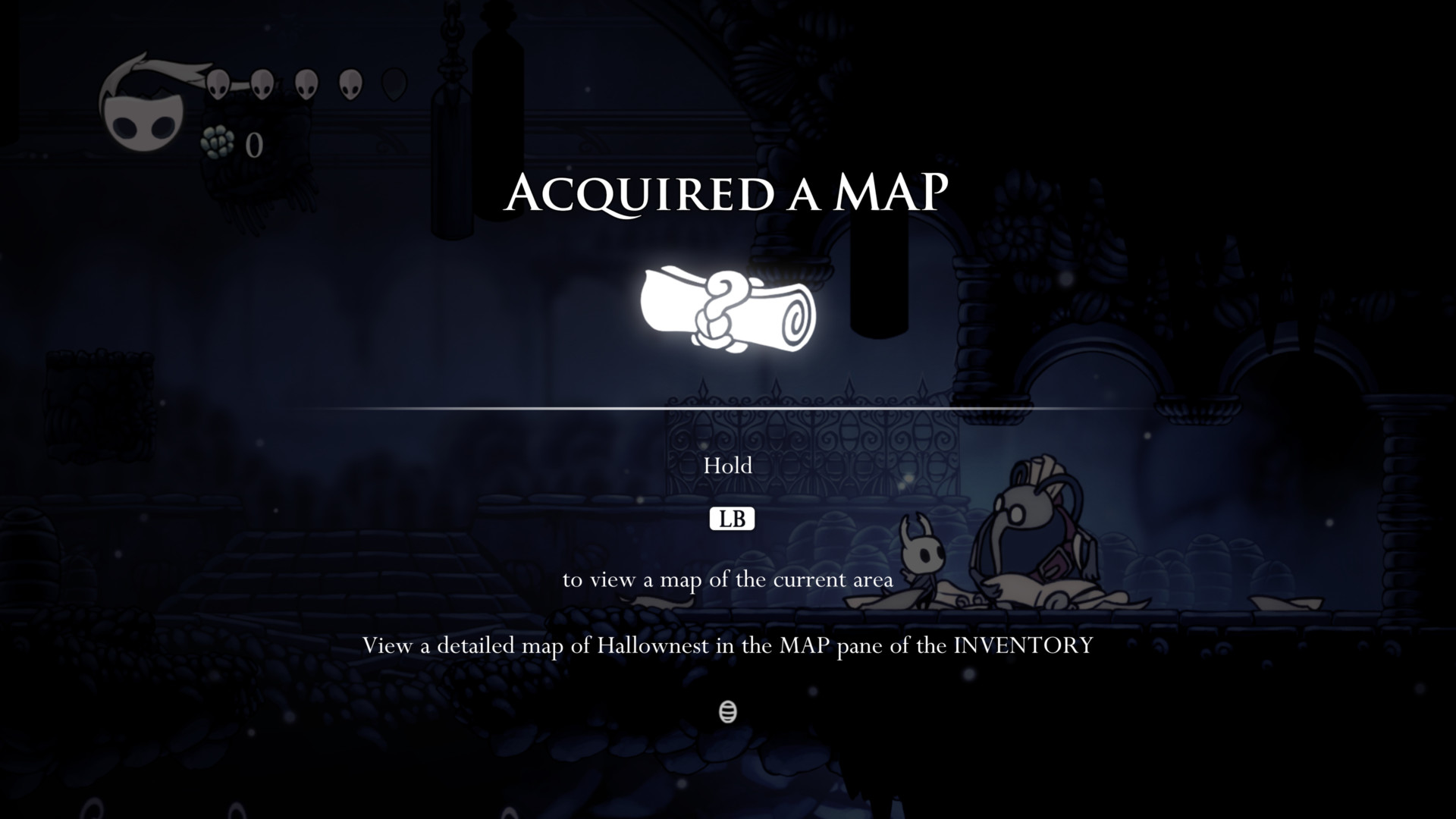 Acquired a map screenshot of Hollow Knight video game interface.