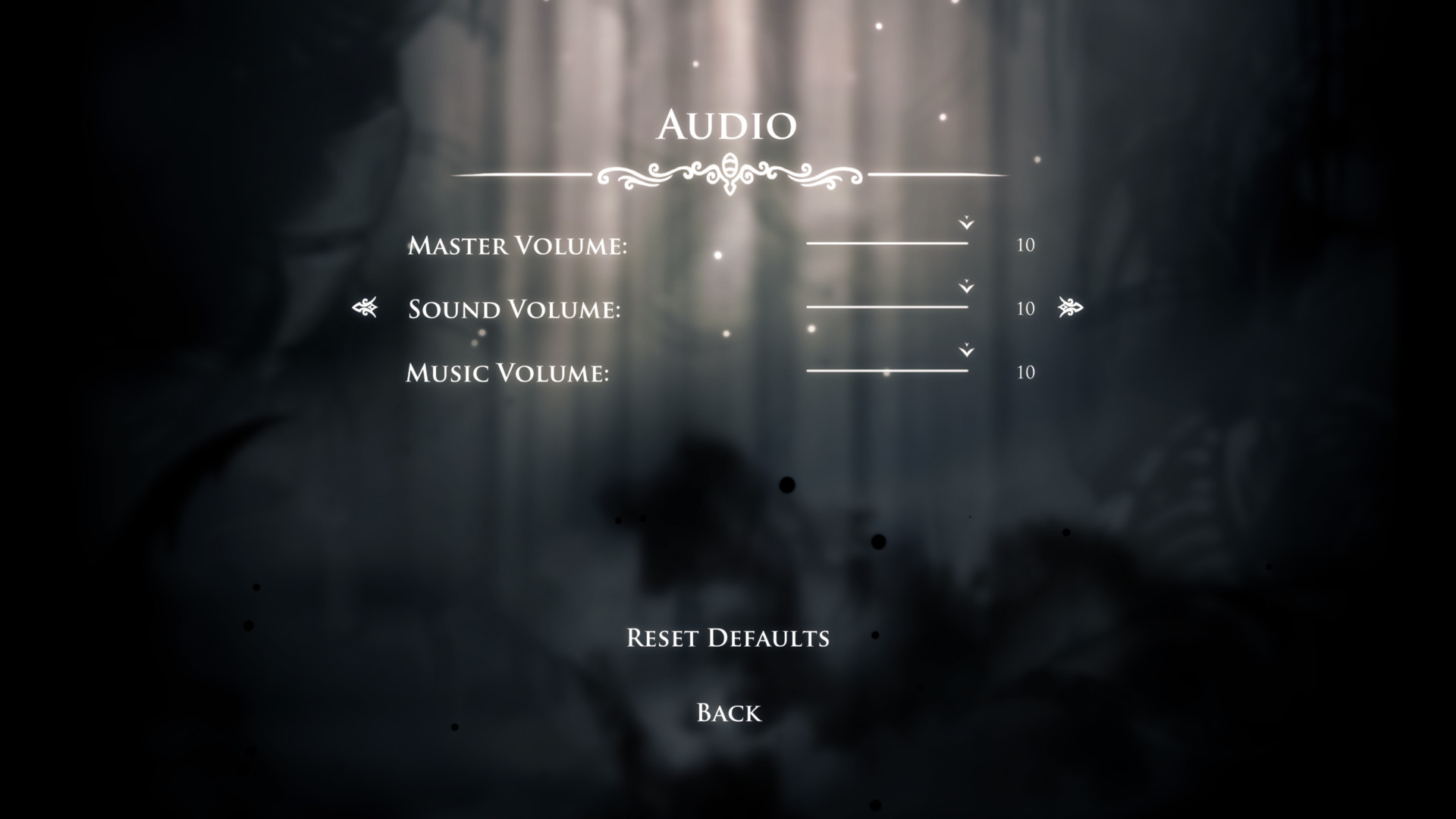 Audio screenshot of Hollow Knight video game interface.