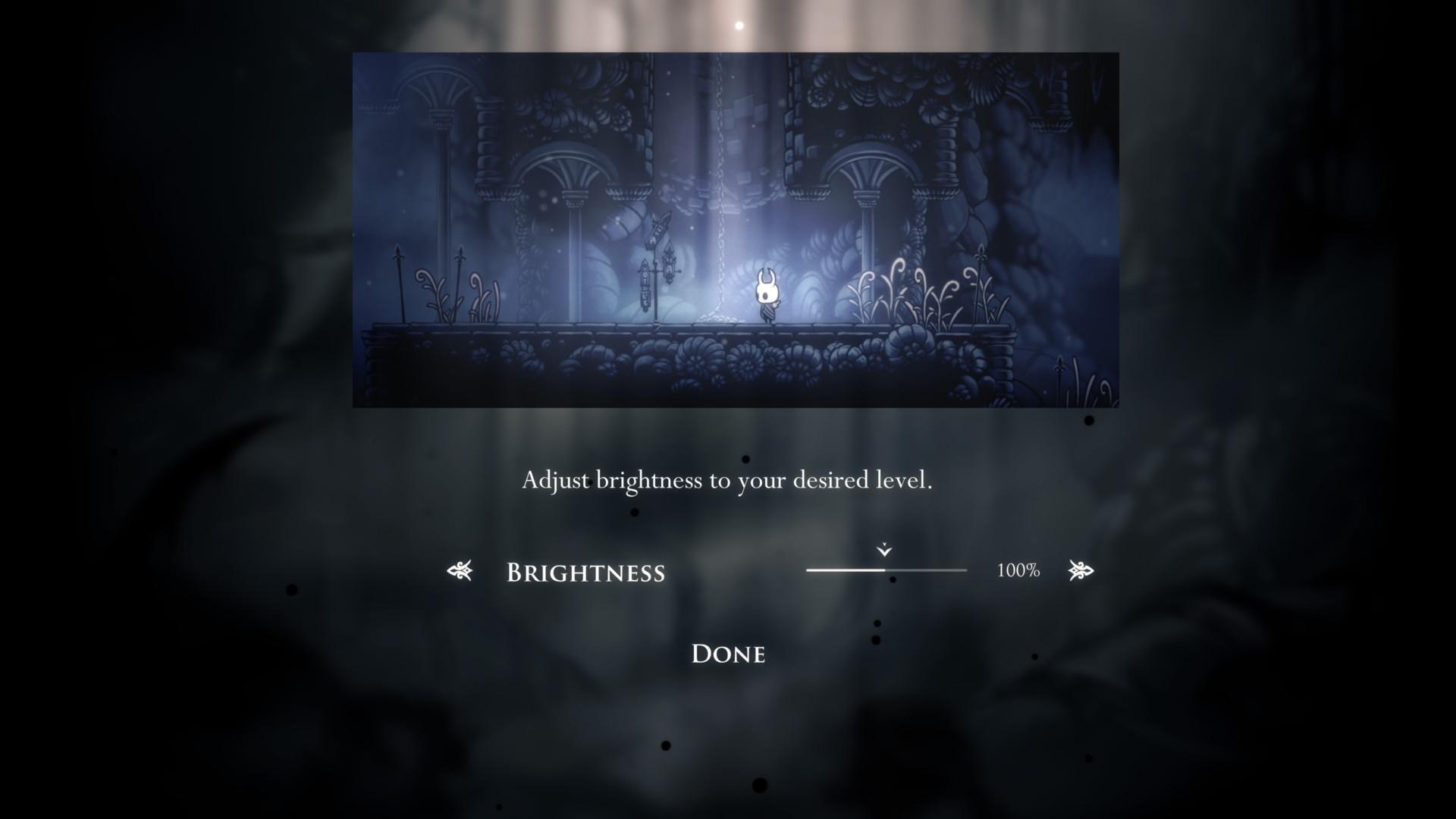 Brightness screenshot of Hollow Knight video game interface.