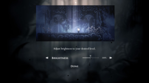 Brightness screenshot of Hollow Knight video game interface.