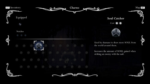 Charms screenshot of Hollow Knight video game interface.