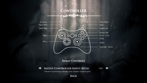 Controller screenshot of Hollow Knight video game interface.