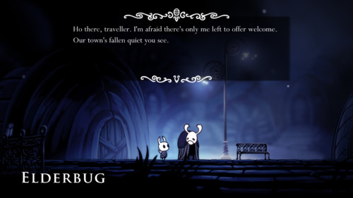 Dialogue screenshot of Hollow Knight video game interface.