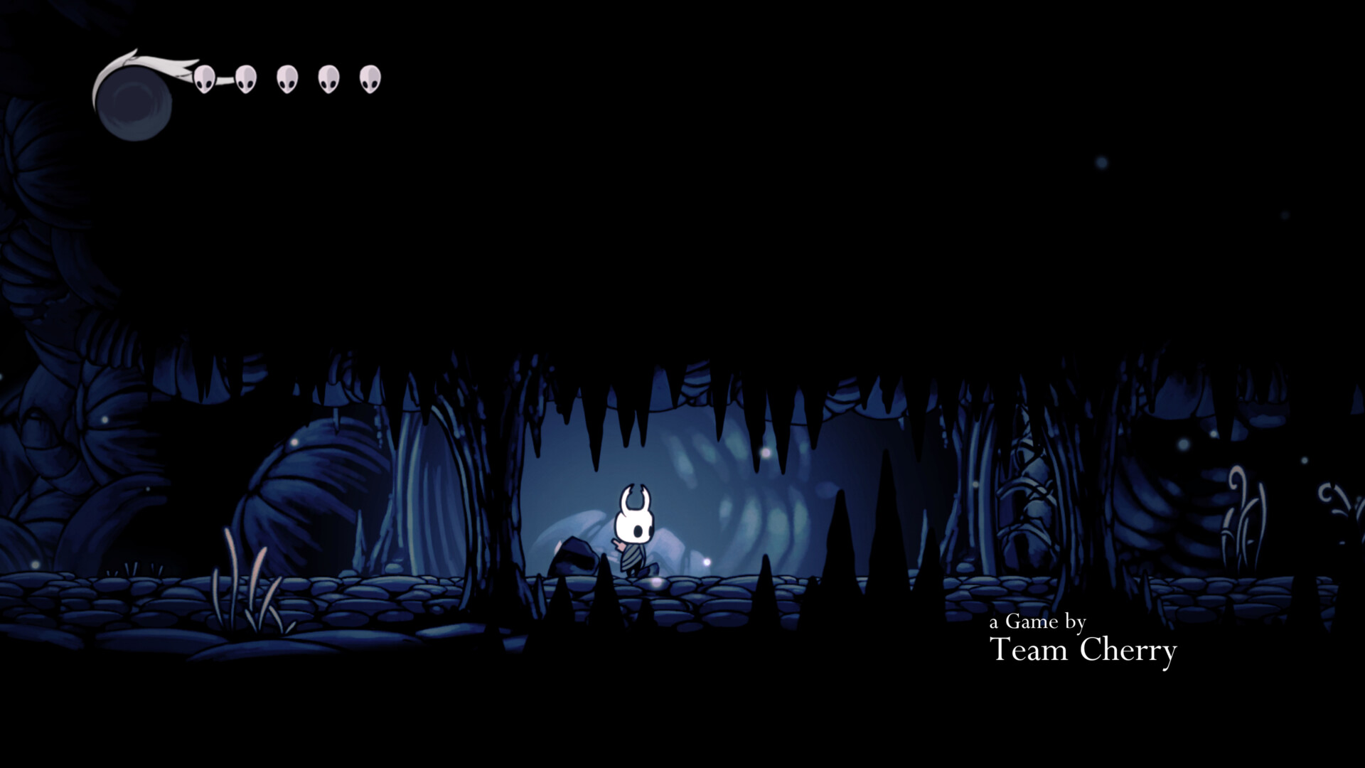 Game credits screenshot of Hollow Knight video game interface.