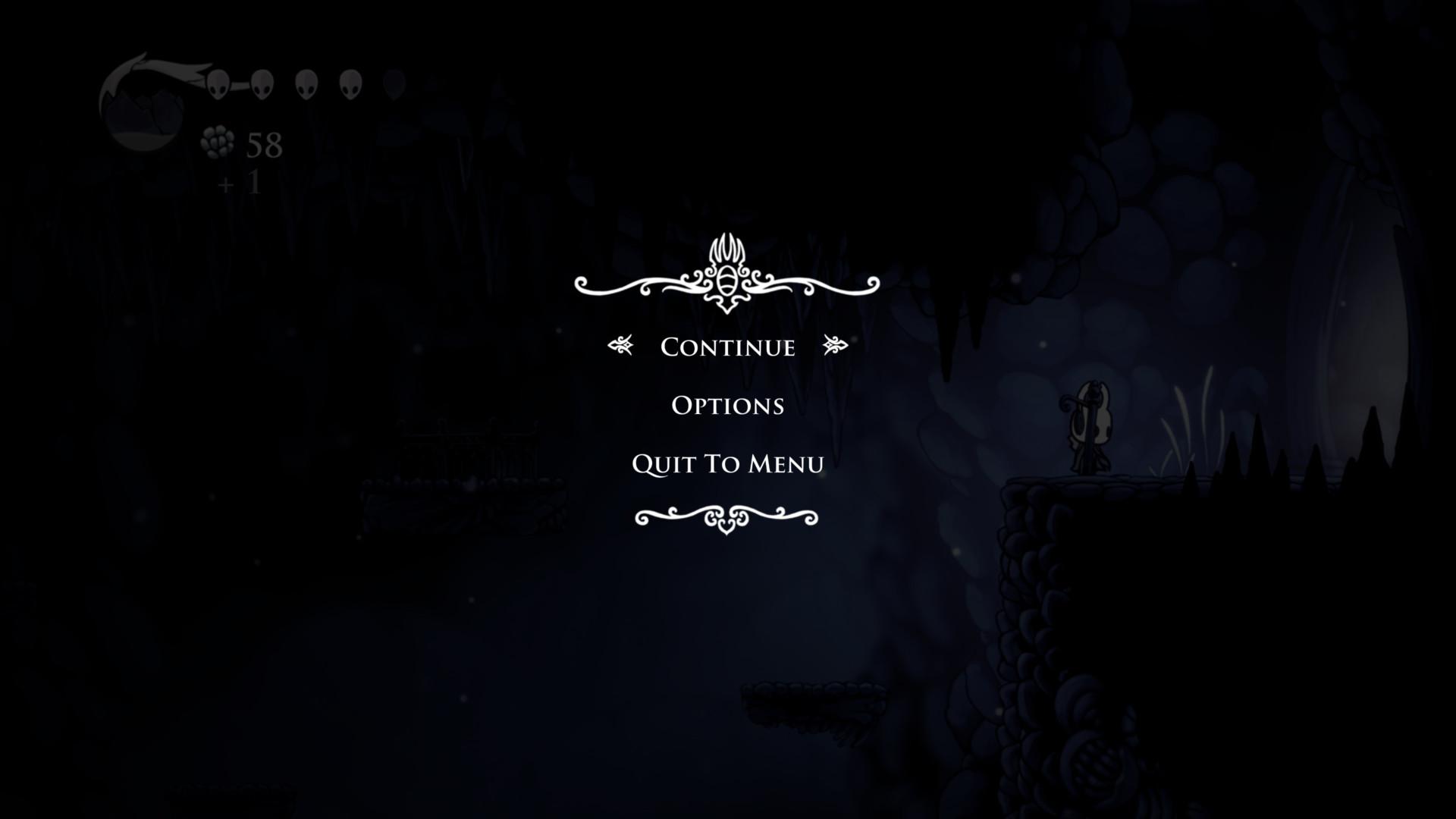 Game menu screenshot of Hollow Knight video game interface.