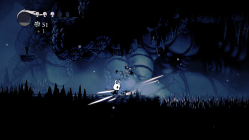 Hit screenshot of Hollow Knight video game interface.