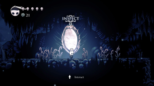 Inspect screenshot of Hollow Knight video game interface.