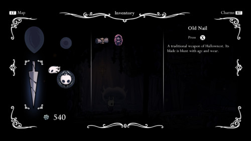 Inventory screenshot of Hollow Knight video game interface.