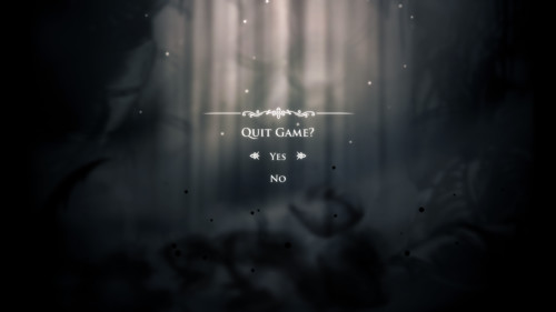 Quit game screenshot of Hollow Knight video game interface.