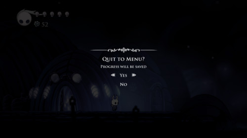 Quit to menu screenshot of Hollow Knight video game interface.