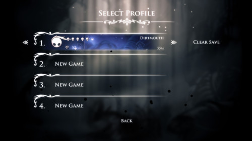 Select profile screenshot of Hollow Knight video game interface.