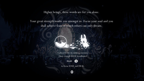 Tip screenshot of Hollow Knight video game interface.