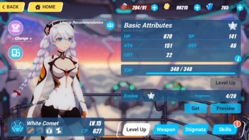 Basic Attributes screenshot of Honkai Impact 3rd video game interface.