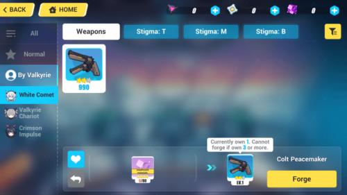 Character weapons screenshot of Honkai Impact 3rd video game interface.