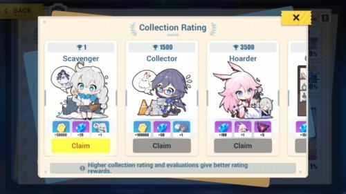 Collection Rating screenshot of Honkai Impact 3rd video game interface.