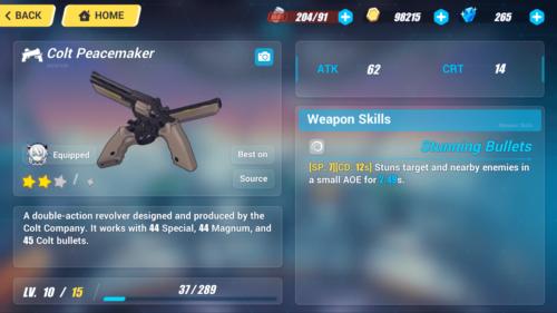 Colt Peacemaker screenshot of Honkai Impact 3rd video game interface.