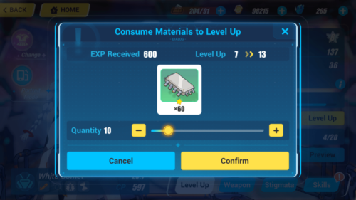 Consume Materials to Level UP screenshot of Honkai Impact 3rd video game interface.