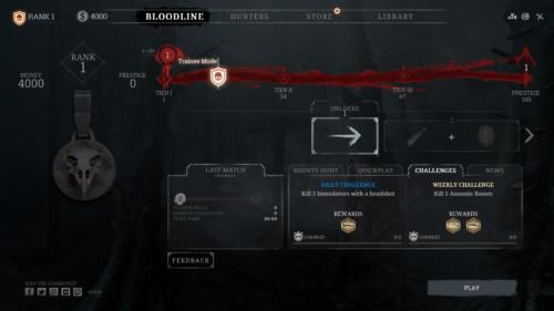 Bloodline screenshot of Hunt: Showdown video game interface.