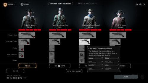 Bounty hunt recruits screenshot of Hunt: Showdown video game interface.