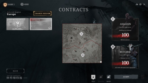 Contracts screenshot of Hunt: Showdown video game interface.