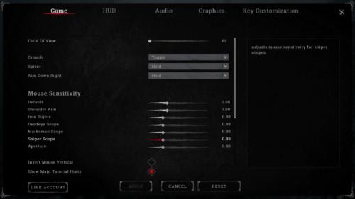 Game screenshot of Hunt: Showdown video game interface.