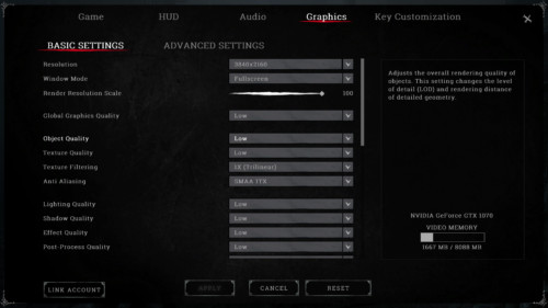 Graphics screenshot of Hunt: Showdown video game interface.