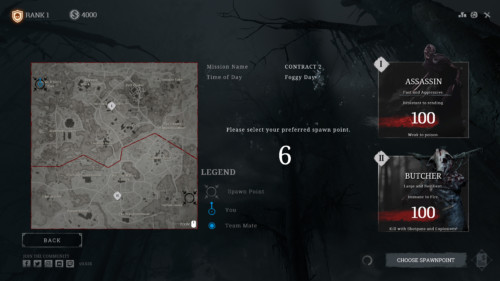 Select spawn point screenshot of Hunt: Showdown video game interface.