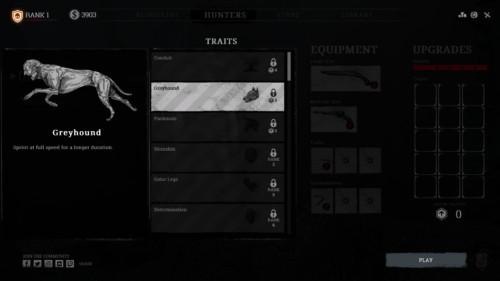 Traits screenshot of Hunt: Showdown video game interface.