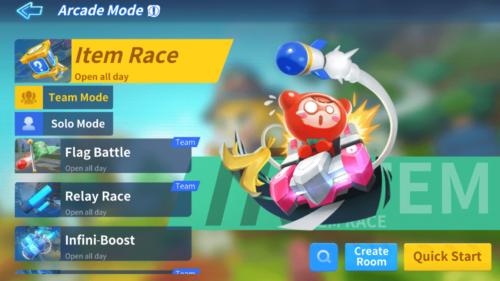 Arcade Mode screenshot of KartRider Rush+ video game interface.